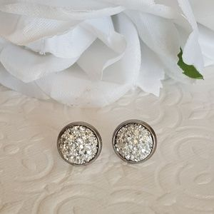 10 mm Silver Druzy Stud Earrings